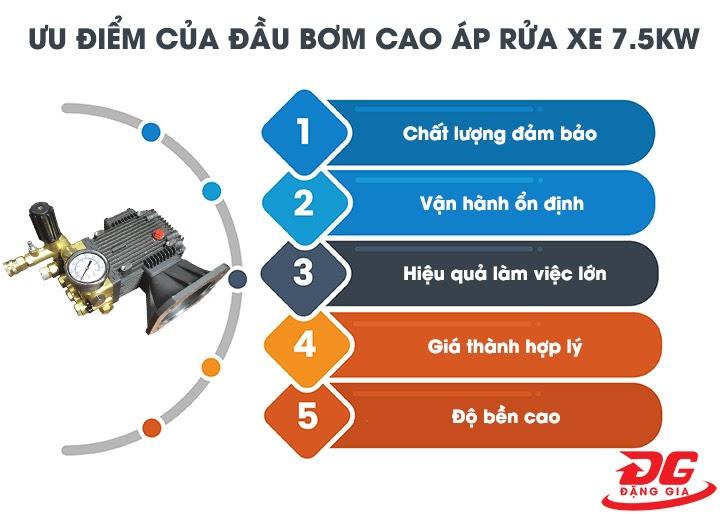 Các ưu điểm nổi bật của đầu bơm cao áp rửa xe 7.5KW