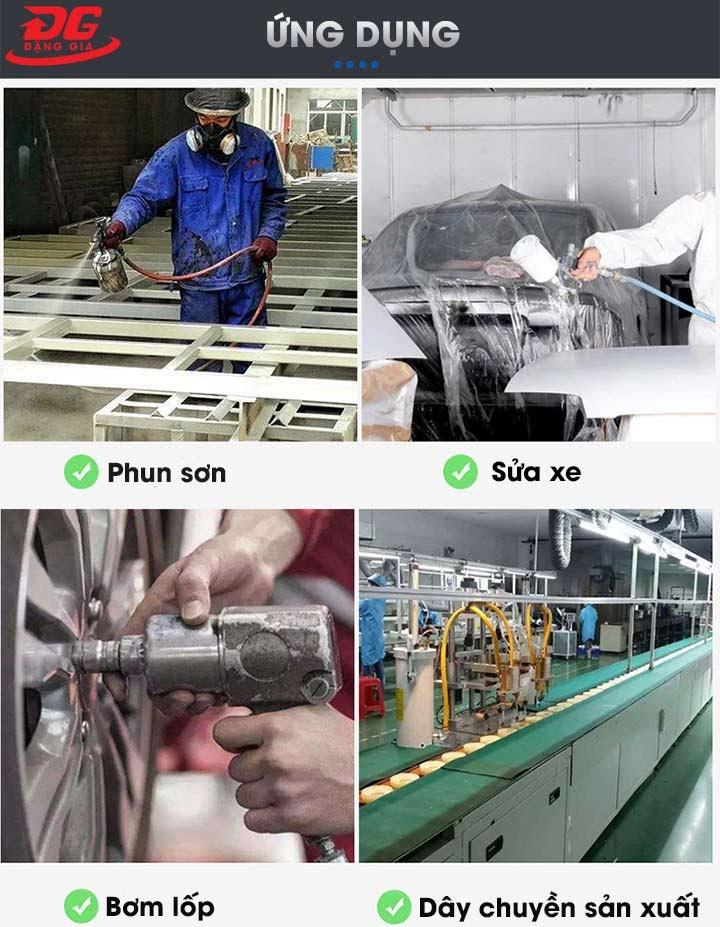 máy nén khí kumisai được ứng rụng rộng rãi