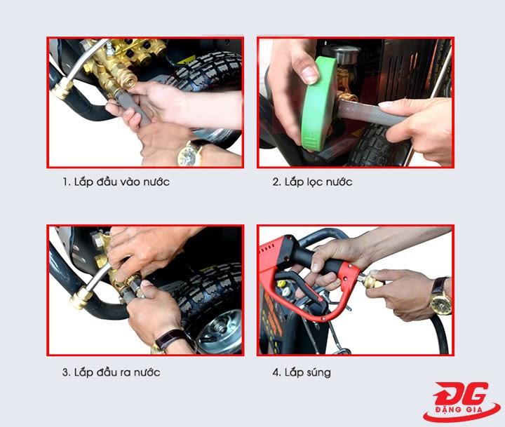 Cách lắp máy nén khí rửa xe