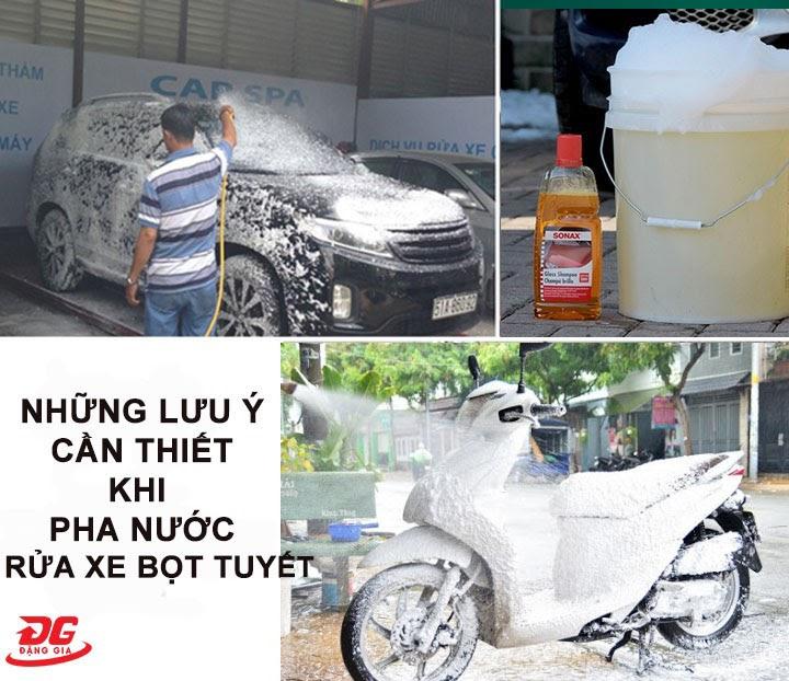 Lưu ý khi pha bọt tuyết rửa xe