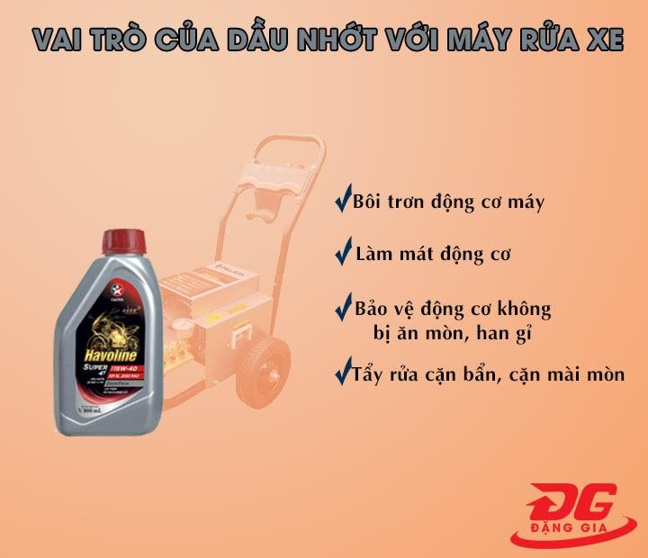 Vai trò của dầu nhớt với máy rửa xe