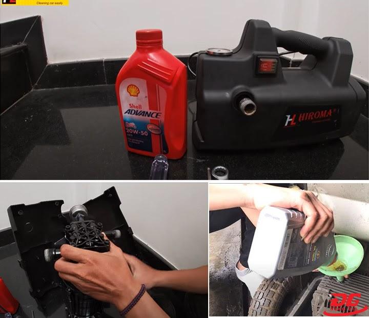 Cách thay dầu máy rửa xe Hiroma